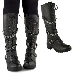 LADIES-WOMENS-KNEE-HIGH-MID-CALF-LACE-UP-BIKER-PUNK-MILITARY-COMBAT-BOOTS-SHOES