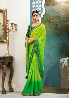 Lime green saree with blouse. Work - Embroidered patch border on saree with embroidery and stones on blouse. Paired with the matching blouse piece.Please Note: The shades may vary slightly from Trendy Sarees, Fancy Sarees, Chiffon Saree, Georgette Sarees, Silk Sarees, Designer Sarees Collection, Saree Collection, Indian Attire, Indian Outfits