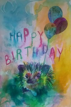 Shop for unique nursery art like the Mr Hedgehog says Happy Birthday Wrapped Canvas Print by emmakaufmann on BoomBoomPrints today! Wish You Happy Birthday, Happy Birthday Art, Happy Birthday Parties, Nursery Paintings, Nursery Wall Art, Nursery Decor, Puffy Paint Designs, Happy Birthday Painting, Hedgehog Art