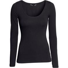 H&M Jersey top ($12) ❤ liked on Polyvore featuring tops, shirts, h&m, long sleeves, black, jersey knit tops, h&m shirts, black shirt, jersey knit shirts and extra long sleeve shirts