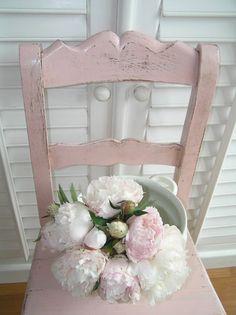pink brocante chair flowers peonies.