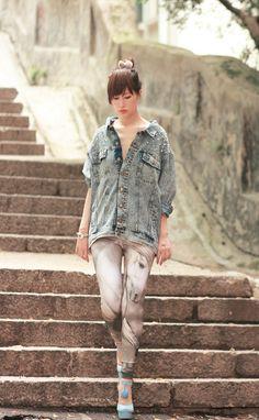pearl embellished denim jacket, style by marina  the majestic horse leggings, lovelysally  owl bangle, pree brulee  powder blue heels, sugarfree