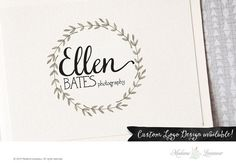 SALE floral wreath logo photography logo premade logo design website logo blog logo