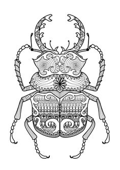Free coloring page coloring-zentangle-beetle-by-bimdeedee. Zentangle Beetle, by…