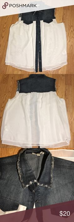 Stylish jean & white layered shirt Stylish jean & white layered shirt good condition Jolt Tops