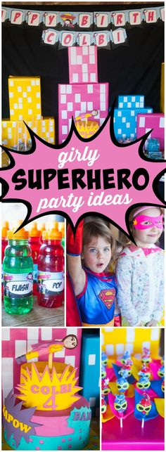 You have to see this girly superhero birthday party! See more party ideas at CatchMyParty.com!
