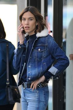 Alexa Chung filming a TV commercial in New York on June 9, 2016