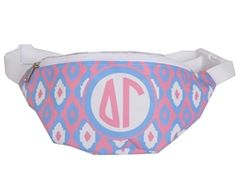 Fannypacks are back! Exclusive desden deisgned ikat pattern with official Delta Gamma sorority monogram. Keep your hands free while you cheer on your team or party on the beach! USA Made. Click the pic to shop today. #fannypacks #usamade #deltagamma