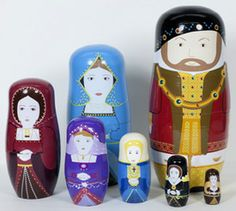 Tudor Stacking Dolls / Henry VIII and Wives. National Portrait Gallery - London Online Gift Shop