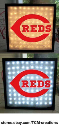 MLB Major League Baseball Cincinnati Reds shadow boxes with LED lighting