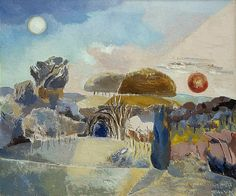 """Landscape of the Vernal Equinox III, 1944, Paul Nash, """"Wittenham Clumps as the perfect setting for the equinox...a landscape of the imagination"""", England"""