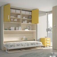 Dormitorio con cama abatible con escritorio