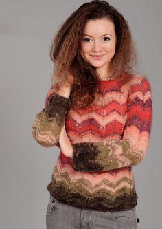 Вязание крючком и спицами - Пуловер зигзагообразным узором