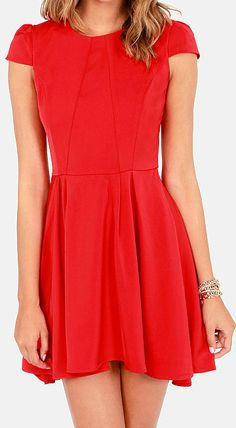 Adorable Red Skater Dress