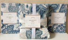 Pottery Barn Paige Palampore Full Queen Duvet Cover Euro Shams New Blue Floral | eBay