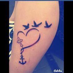Sister tattoo cross heart anchor birds