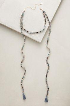 Slide View: 1: Tasseled Choker Wrap Necklace