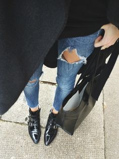 sharp black + ripped jean