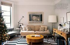 Madeline Weinrib Black & White Buche Wool Flatweave Carpet in Susan Becher's Upper West Side apartment
