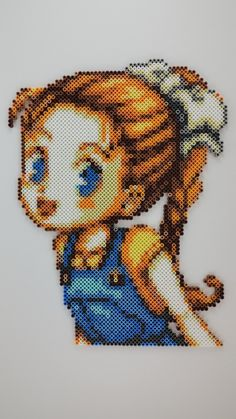 Ann from Harvest Moon: Friends of Mineral Town perler beads by PearlescentWorks. Wow! Amazing job!