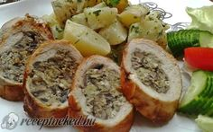 Gombás tojással töltött csirkemell recept fotóval Cheesesteak, Meatloaf, Poultry, Sushi, Sandwiches, Ethnic Recipes, Food, Backyard Chickens, Essen