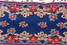French Country Rug - Wool, Navy, Floral Border - Vintage - Gorgeous! by YPSA on Etsy