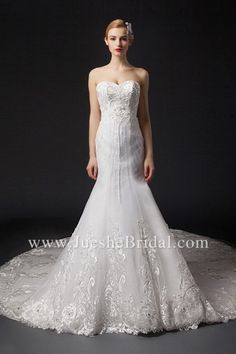 ee2922a59c3e Sexy Mermaid Sweetheart Strapless Embroidery Beading Wedding Dress  DZSW300003