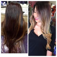 Color correction hair makeover before and after to blonde ombré balayage using olaplex