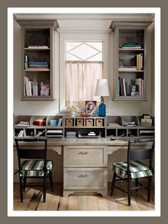 Best Two Person Desk Design Ideas for Your Home Office Workspace Home Office Space, Small Office, Shared Office, Grey Office, Office Nook, Desk Office, Office Spaces, Office Style, Office Chairs