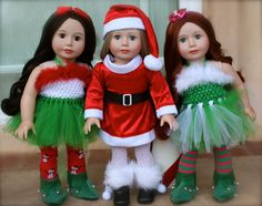 Fits American Girl Santa and American Girl Elves Outfits are at www.harmonyclubdolls.com We fit American Girl. We also offer our own exclusive line of 18 inch Harmony Club Dolls Brand Dolls www.harmonyclubdolls.com