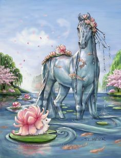 I designed the Lotus hedgehog and the water horse for Bella Sara. #CardArt <-- previous pinner