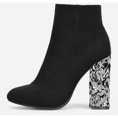 SheIn(sheinside) Block Heeled Side Zipper Ankle Boots ($44) ❤ liked on Polyvore featuring shoes, boots, ankle booties, black, black boots, black bootie, black ankle boots, black ankle booties and chunky black boots