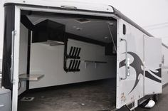 A wide door is essential for front egress and loading. When making the turn out to unload, a wide door makes the job much easier. Trailer Build, Open Trailer, Snowmobile Trailers, Enclosed Trailers, Trailer Storage, Trailer Interior, Sports Models, Toy Hauler, Rv Campers