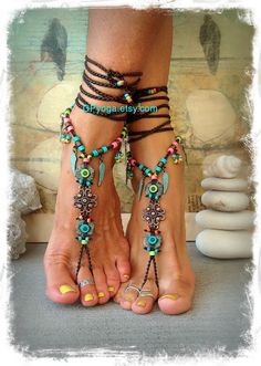 BOHO chic BAREFOOT sandals colorful Summer foot jewelry by GPyoga
