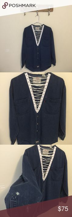 Custom Made Vintage Levi's Denim Lace Up flannel Hand picked reworked vintage denim flannel Machine sewn Oversized fit Fits like a large Flaw as pictured Feel free to ask me any questions Thanks for browsing my closet! Happy Poshing Levi's Tops Button Down Shirts