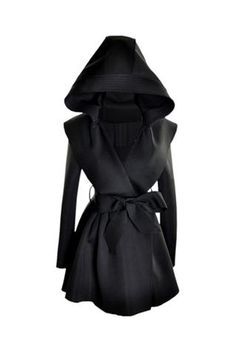 Hooded Black Trench Coat