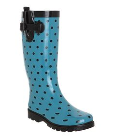 Loving this Turquoise Shiny Polka Dot Rain Boot on #zulily! #zulilyfinds