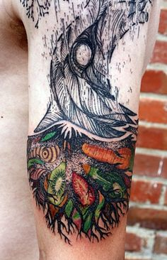 Tree and Roots Tattoo, by David Hale. It looks to me like it represents how what is below the surface is so much richer. But maybe that is just my interpretation.
