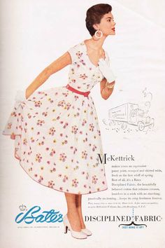 """McKettrick floral print 50s dress made of Bates Disciplined """"beautifully behaved"""" cotton fabric. #1950sdresses #50sfashion #vintagedress"""