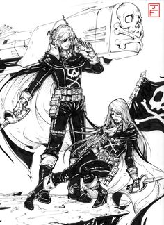 I knew very little about this anime/manga, so lots of research ensued XD Pretty sure I still got some things wrong T.T Commission, Pen/Ink Space Pirate Captain Harlock/Queen Emeraldas Comm Queen Emeraldas, Space Captain, Space Pirate Captain Harlock, Illustration Manga, Science Fiction, Anime Dvd, Saga, Cartoon Toys, Mecha Anime