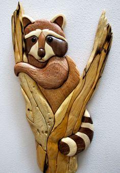 Intarsia Raccoon in Tree by jdintarsia on Etsy