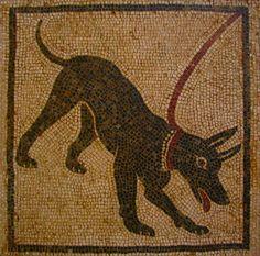 Roman Mosaic. Dog. Pompeii, Italy.