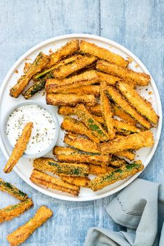 Air Fryer Zucchini Fries are the perfect starter, side dish or snack! These crave-worthy air fried parmesan zucchini fries are crisp. Best Zucchini Recipes, Healthy Recipes, Vegetable Recipes, Keto Recipes, Vegetable Sides, Healthy Meals, Bread Recipes, Air Fryer Dinner Recipes, Air Fryer Recipes