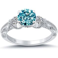 1.74 Carat Fancy Blue Diamond Engagement Ring 18k White Gold Vintage Style