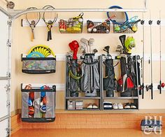 Modular systems make organizing sporting gear and yard equipment a breeze in this garage. Take a look at this organized space and discover how to employ smart storage strategies in your own garage.