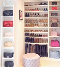 Master bedroom closet organization walk in shoes 15 New Ideas Closet Office, Bag Closet, Dressing Room Design, Closet Remodel, Master Bedroom Closet, Luxury Closet, Glam Room, Dream Closets, Closet Designs
