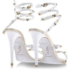 RENE' CAOVILLA High-heeled sandals ($530) ❤ liked on Polyvore featuring shoes, sandals, spiked high heel shoes, strappy high heel sandals, strappy sandals, strap heel sandals and high heel shoes