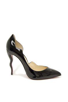 Christian Louboutin Black Patent Squiggle Heel Stilettos Chaussures Femmes, Femmes  Noires, Mode Femme, d6f45cf91c31
