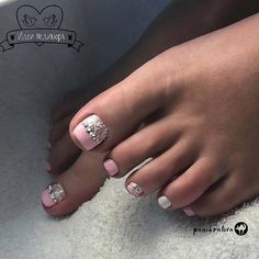 Elegant Lace Toe Nail Design with Sparkle
