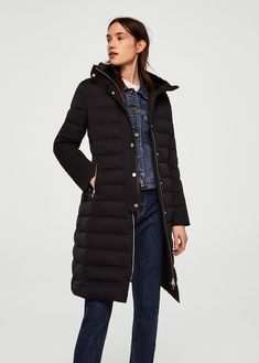 6374cfd7ee Quilted feather coat - Woman